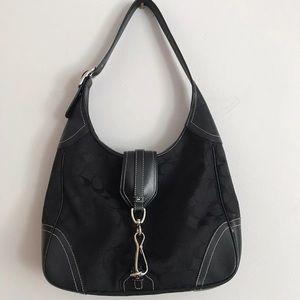 Coach signature shoulder hobo flap clip bag